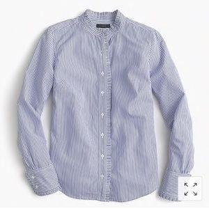 J. Crew ruffled button-up shirt in stripe 0